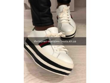 Кожаные Кеды на платформе в стиле Gucci White