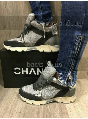 Женские кроссовки в стиле Chanel Gray