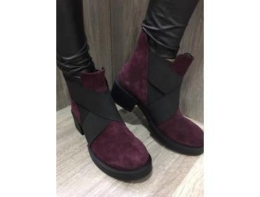 Женские Замшевые Демисезонные Ботинки Цвет Марсала