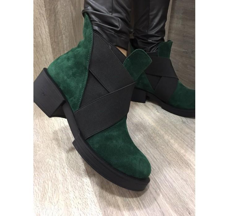 Женские Замшевые Демисезонные Ботинки Изумрудного Цвета