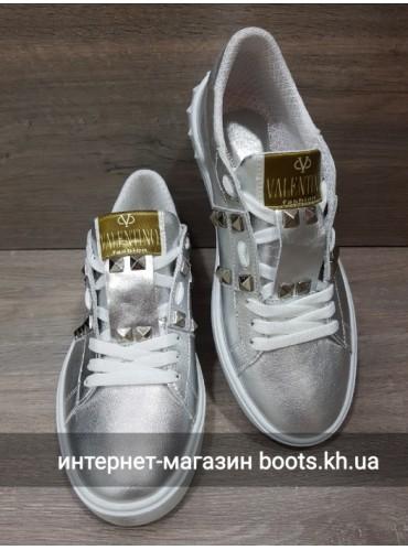 Кожаные Женские Кеды В Стиле Valentino Silver