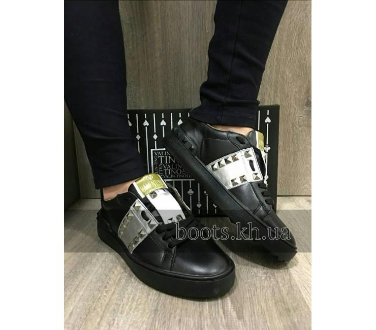 Кожаные Женские Кеды В Стиле Valentino Black