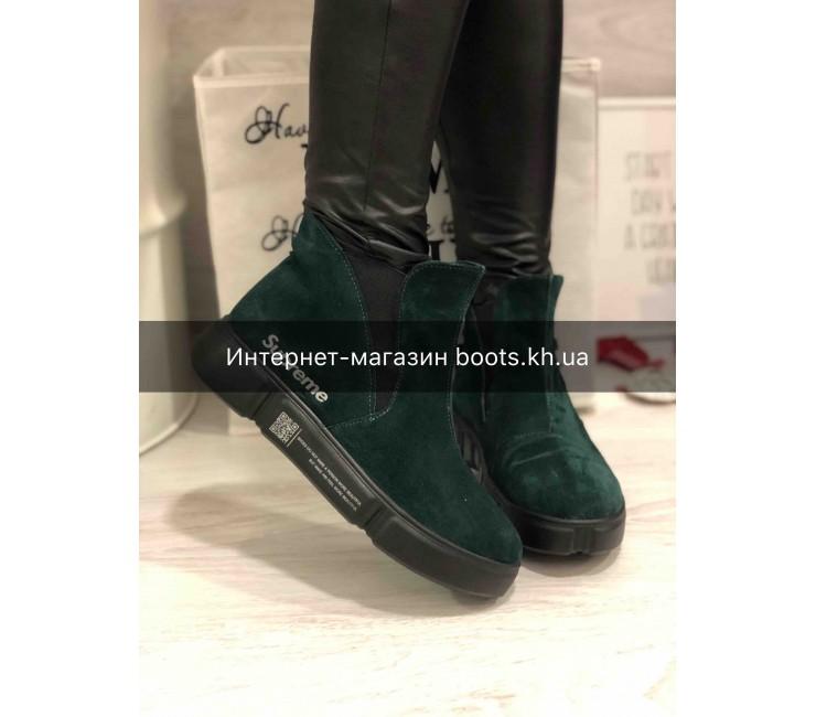 Женские замшевые демисезонные ботинки в стиле Supreme