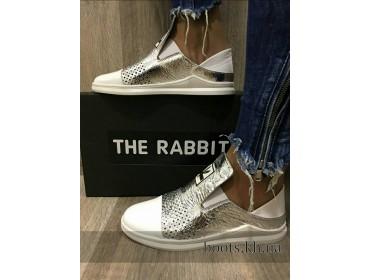 Женские кожаные слипоны слиперы Rabbit silver