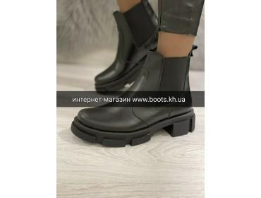 Женские кожаные демисезонные ботинки челси black