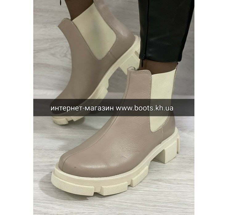Жіночі шкіряні чобітки челсі