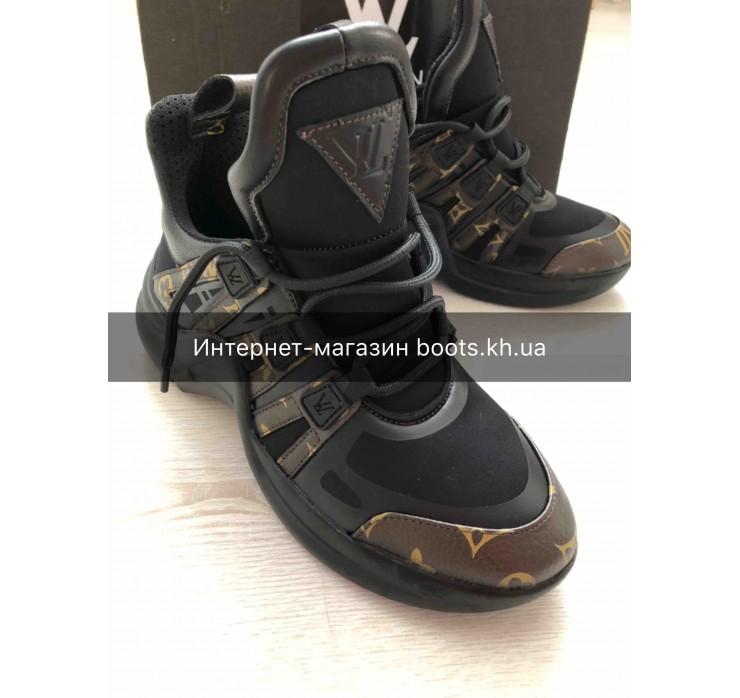 Женские кожаные кроссовки в стиле Louis Vuitton
