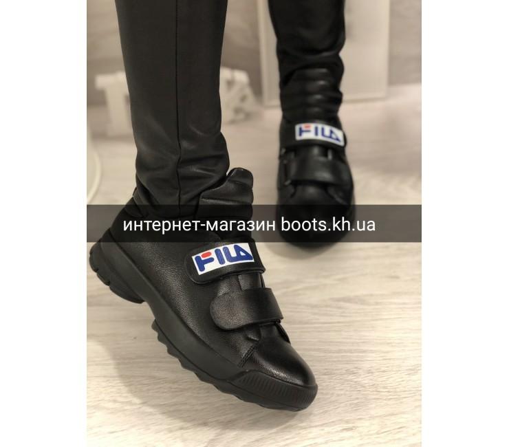 Женские черные кожаные кроссовки Fil_a