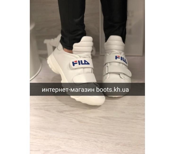 Женские белые кожаные кроссовки Fil_a