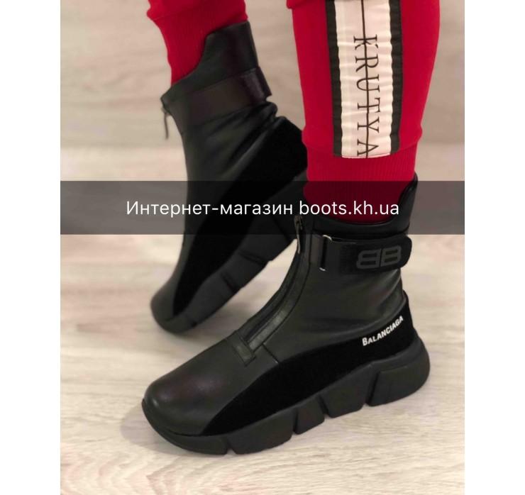 Женские кожаные зимние ботинки Balanciaga на змейке