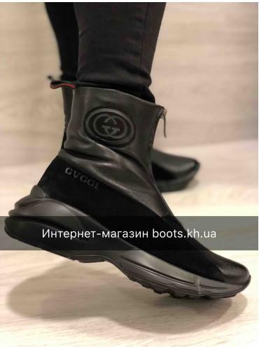 Женские Кожаные Зимние Ботинки GVCCI На Змейке