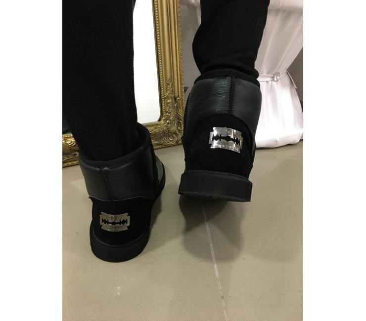 Женские Кожаные Короткие Угги в стиле Philipp Plein