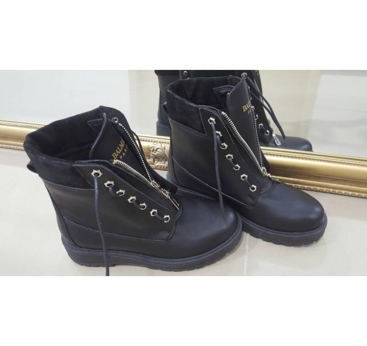 Кожаные Женские Демисезонные ботинки Balmain
