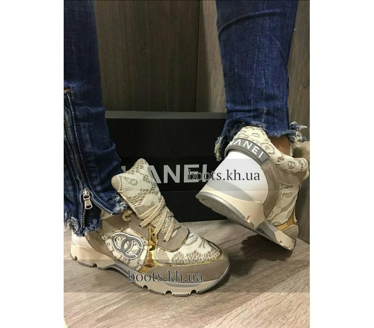 Женские Кроссовки В Стиле Chanel Gold