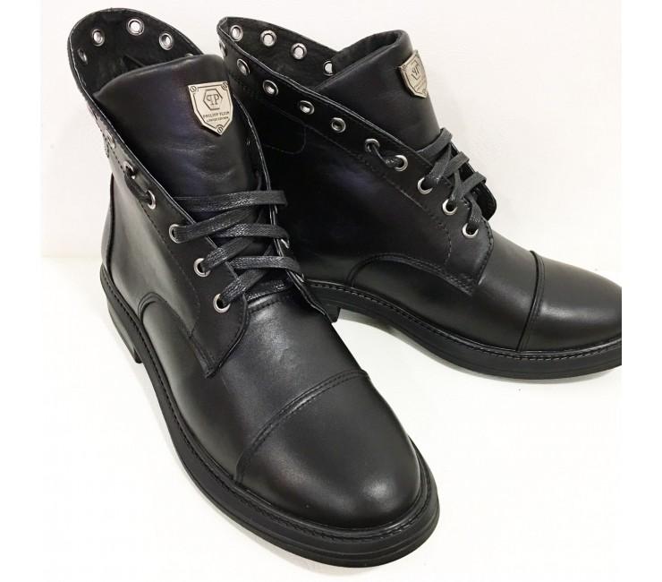 Зимние Кожаные Ботинки в стиле P.Plein