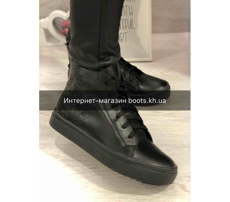 Женские кожаные демисезонные ботиночки в стиле Chrome Hearts