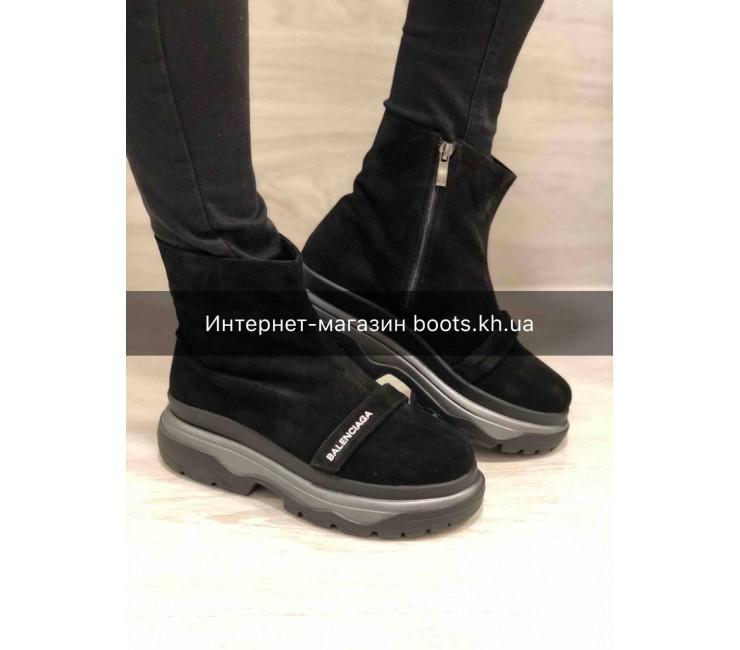 Женские замшевые зимние ботинки в стиле Balenciaga Black