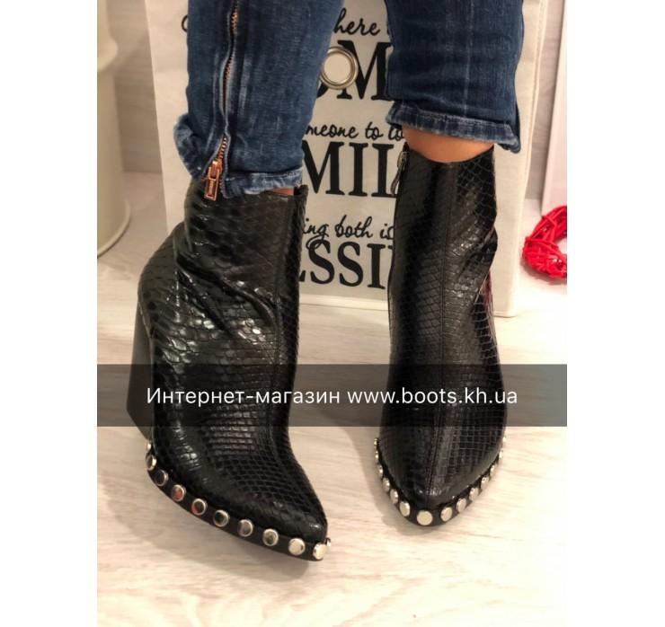 Женские кожаные ботинки Kozaki принт рептилии