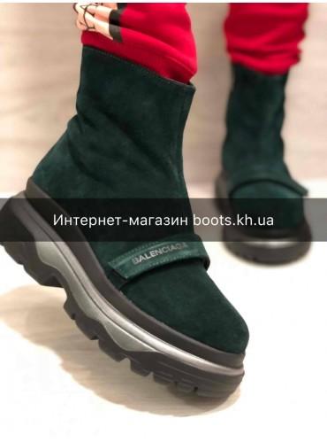 Женские замшевые зимние ботинки в стиле Balenciaga emerald