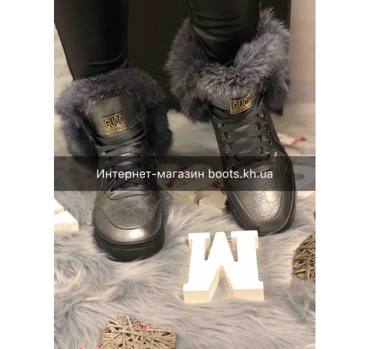 Женские кожаные зимние ботинки в стиле GUCCI