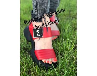 Женские кожаные босоножки Teona RED
