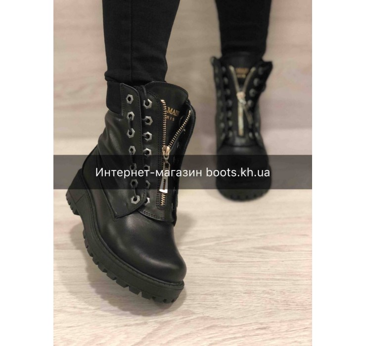 Зимние кожаные ботинки  стиль Balmain