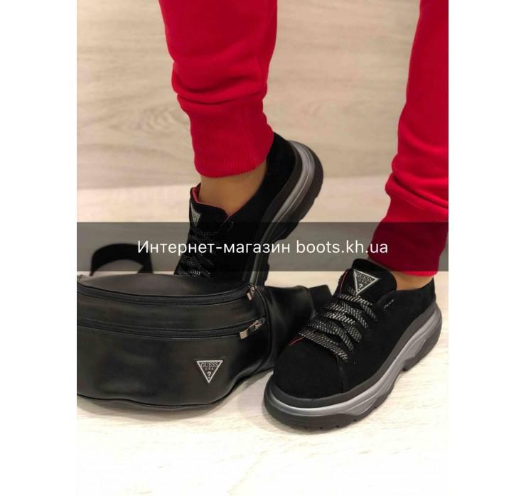 Женские замшевые кроссовки на платформе GUESS black