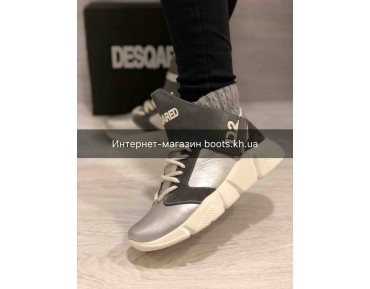 Женские зимние кожаные кроссовки в стиле Dsquared2 silver