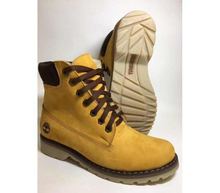 Женские зимние ботинки  в стиле timberland натуральный нубук